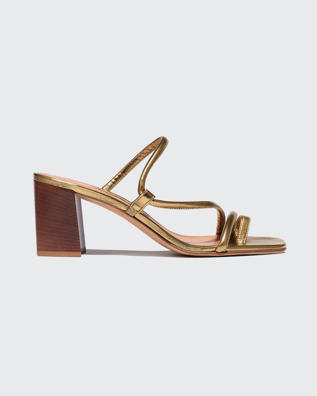 Brera 60mm Metallic Napa Wooden Block-Heel Sandals
