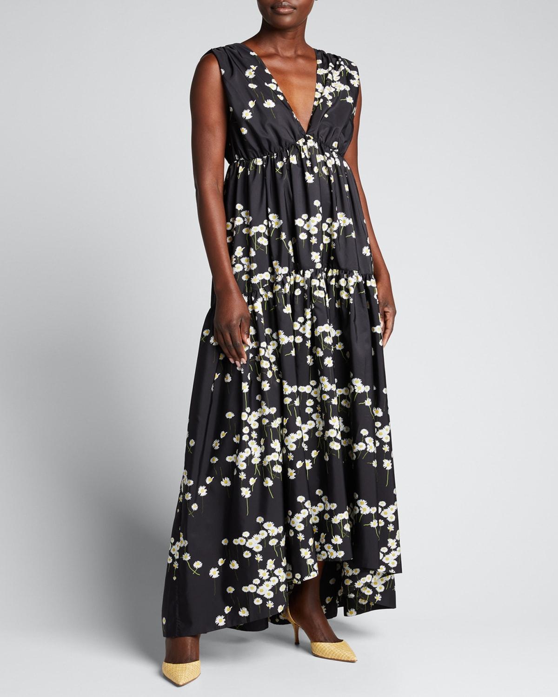 Milly Floral-Print Sleeveless Maxi Dress