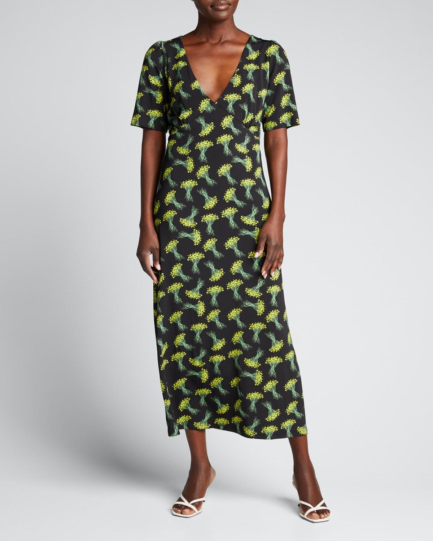 Chrissy Falling Bouquet-Print Midi Dress
