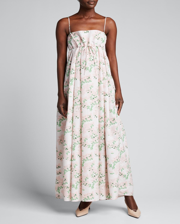Jules Floral-Print Pleated Taffeta Maxi Dress
