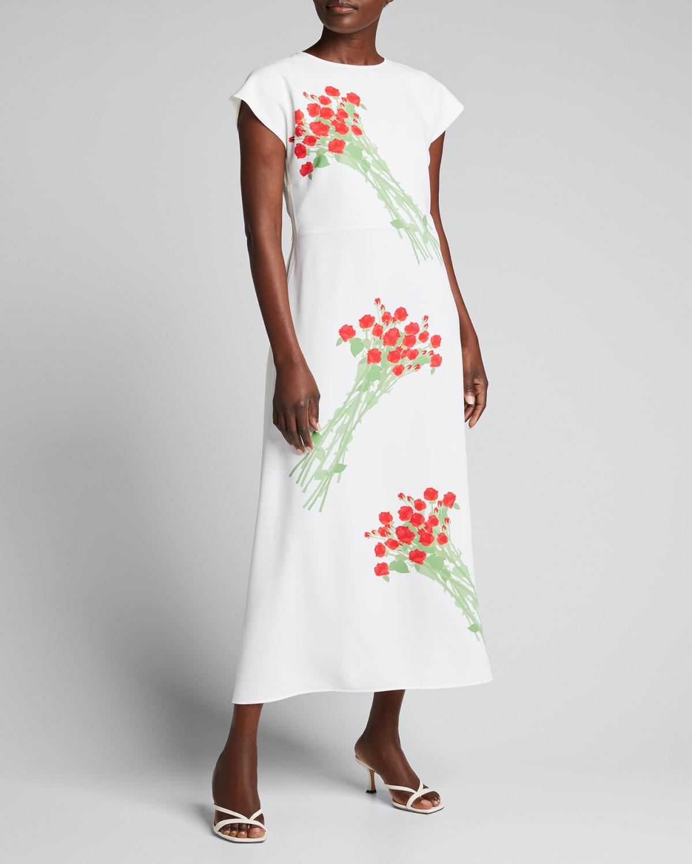 Anne Floral-Print Midi Dress