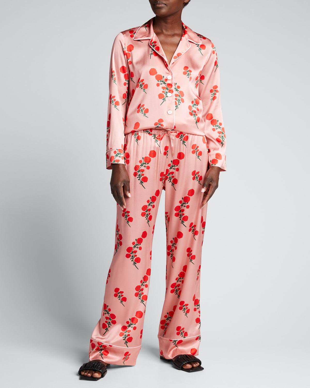 Floral-Print Silk Charmeuse Pajama Set