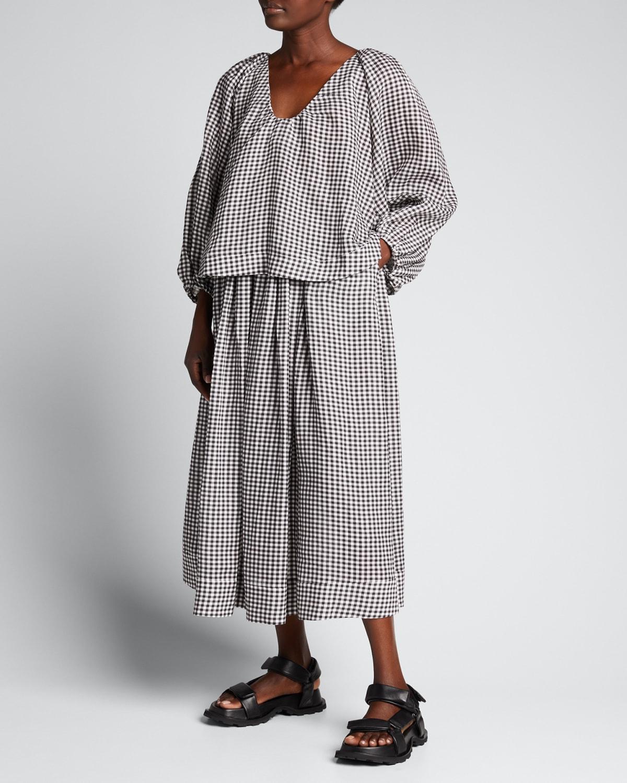 Gingham Ankle-Length Skirt