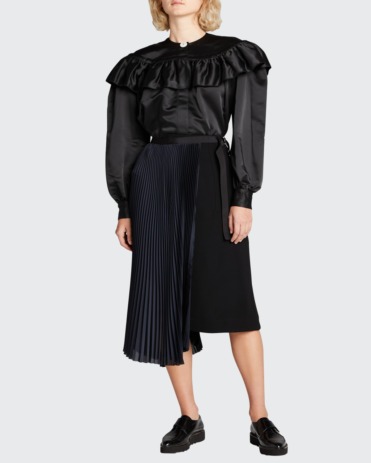 Ruffle-Trimmed Satin Button-Down Top