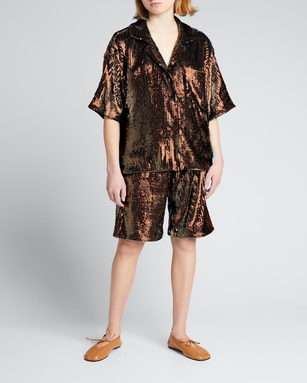 Sequined Bermuda Shorts