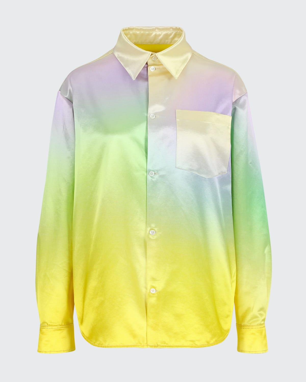Button-Down Ombre Satin Shirt
