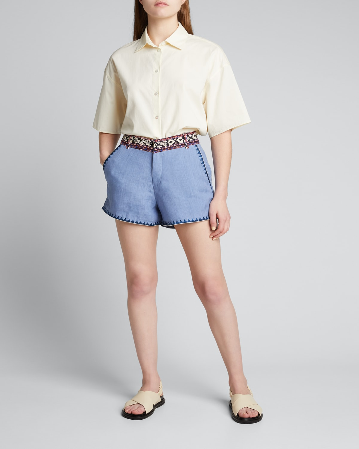Nerano Embroidered Linen Shorts