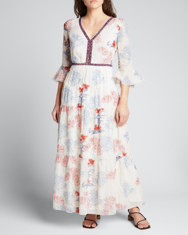 Bella Spring Flowers 3/4-Sleeve Dress