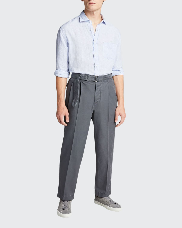 Men's Linen Fine-Stripe Sport Shirt