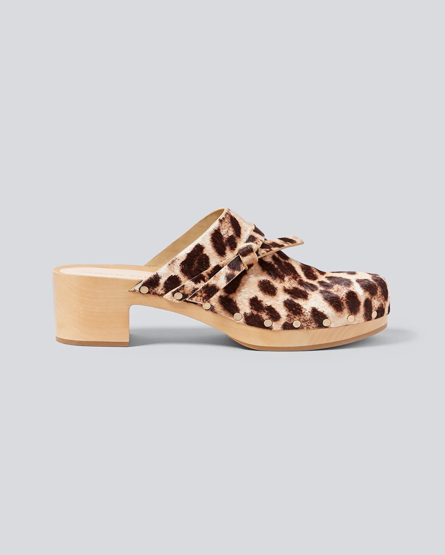 Roberta Leopard-Print Calf Hair Clogs