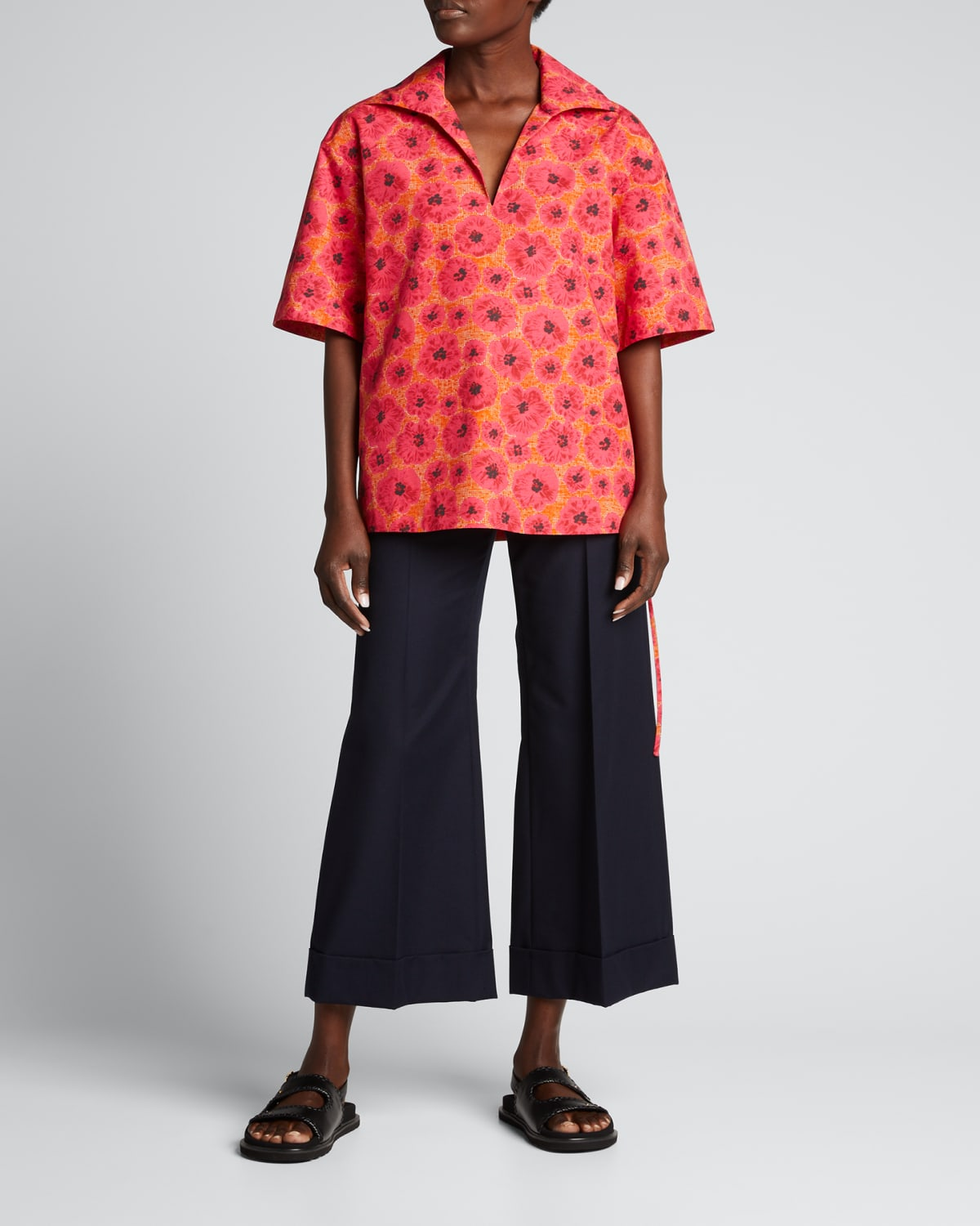 Printed V-Neck Top with Side Self-Ties