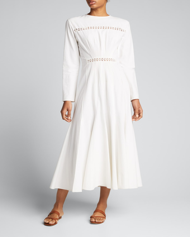 Frida Poplin Embroidered Midi Dress