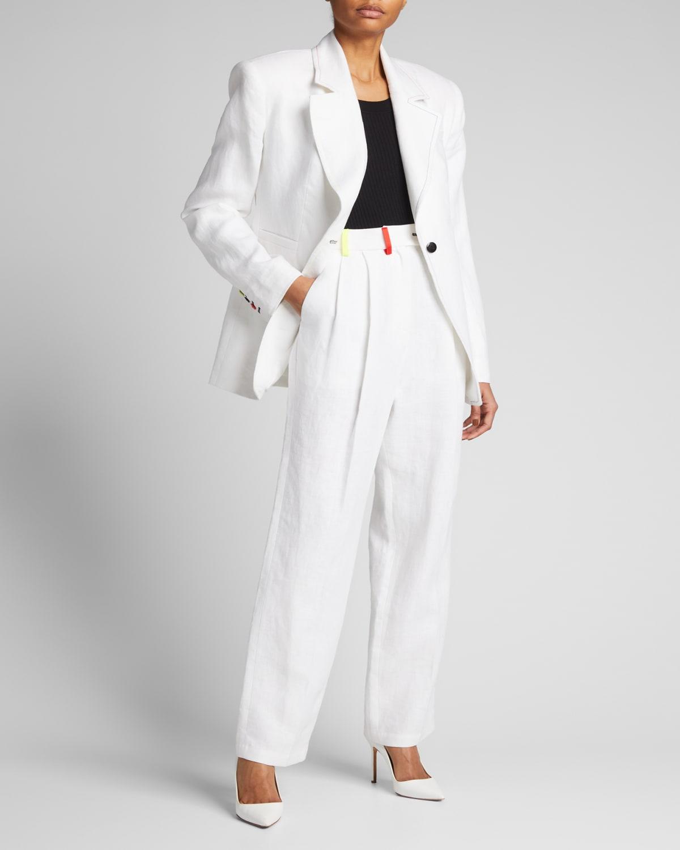 Contrast-Trim Linen Pleated Suit Pants