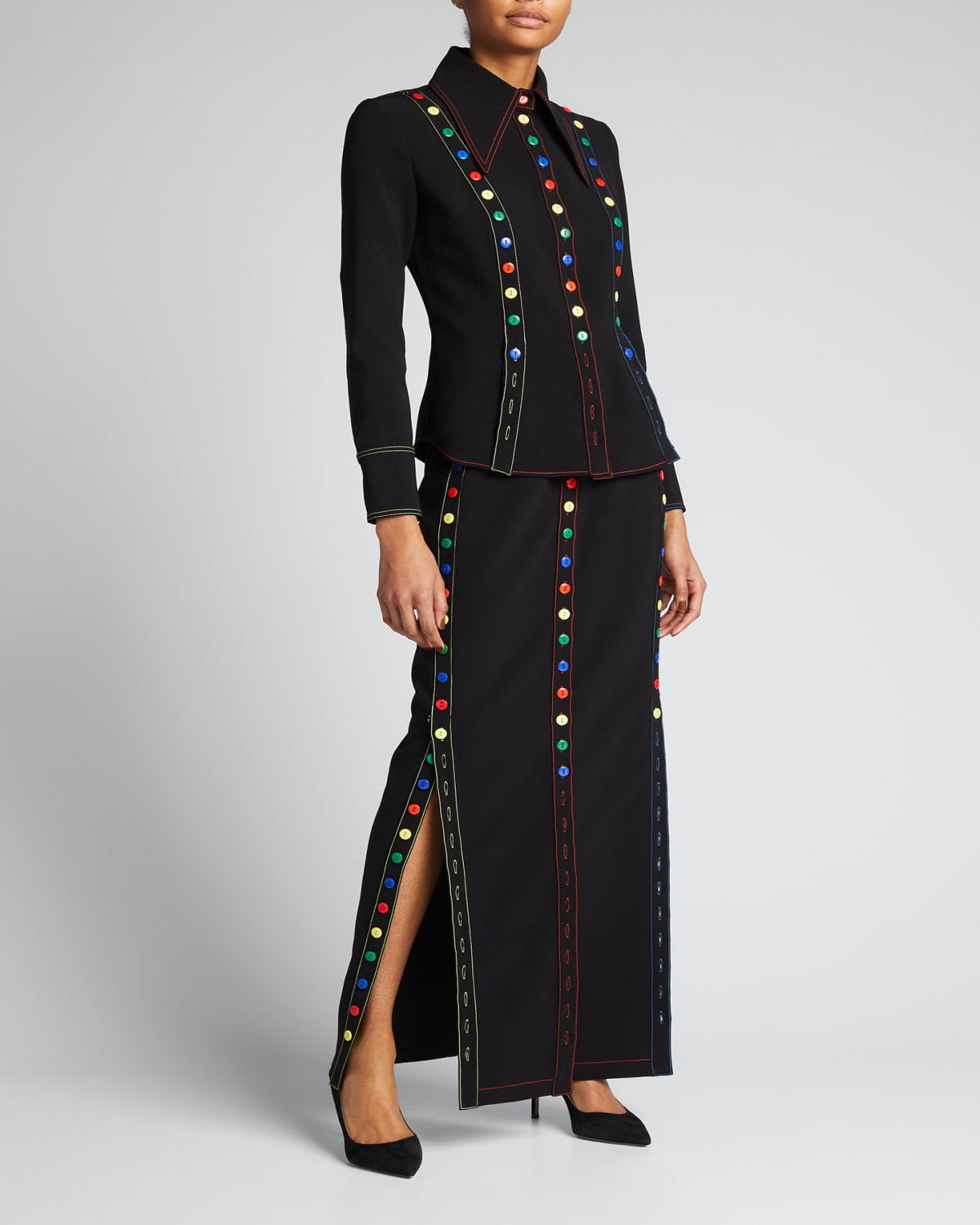Button-Embellished Crepe Button-Down Skirt