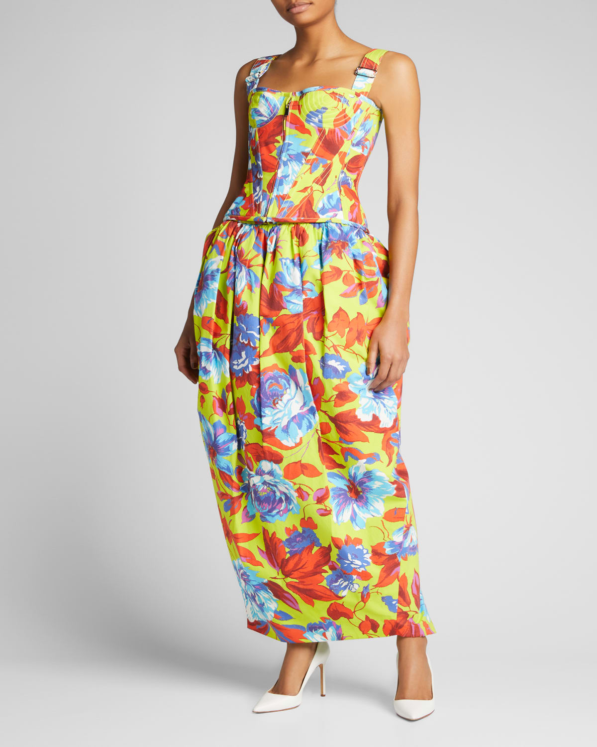 Floral-Print Structured Midi Skirt