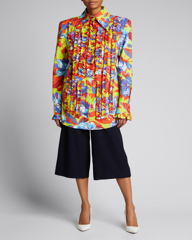 Floral-Print Tuxedo-Ruffle Mini Shirtdress