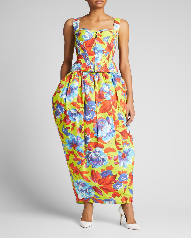 Floral-Print Corset Top