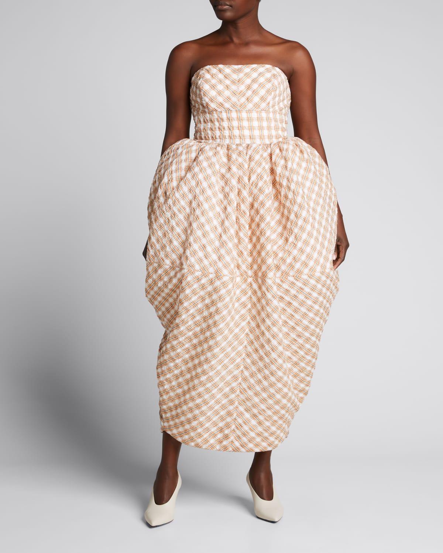 Strapless Seersucker Strawberry Midi Dress