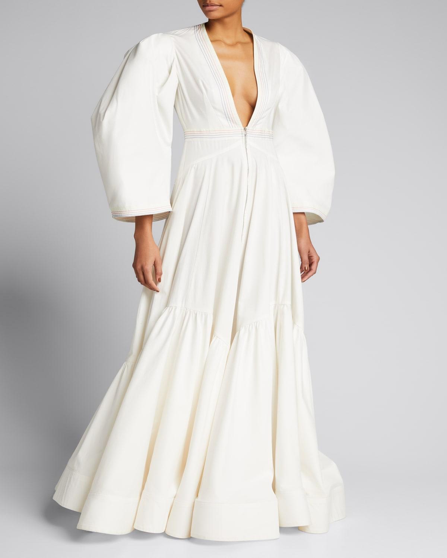 Front-Zip Poplin Structured-Sleeve Ruffle Dress