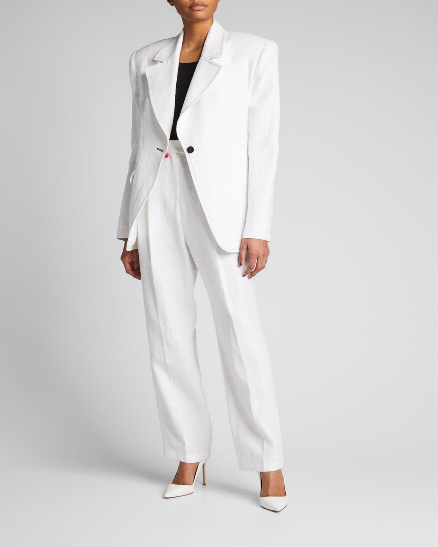 Single-Button Linen Suit Jacket