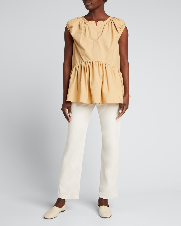 Melanie Split-Neck Cotton Top