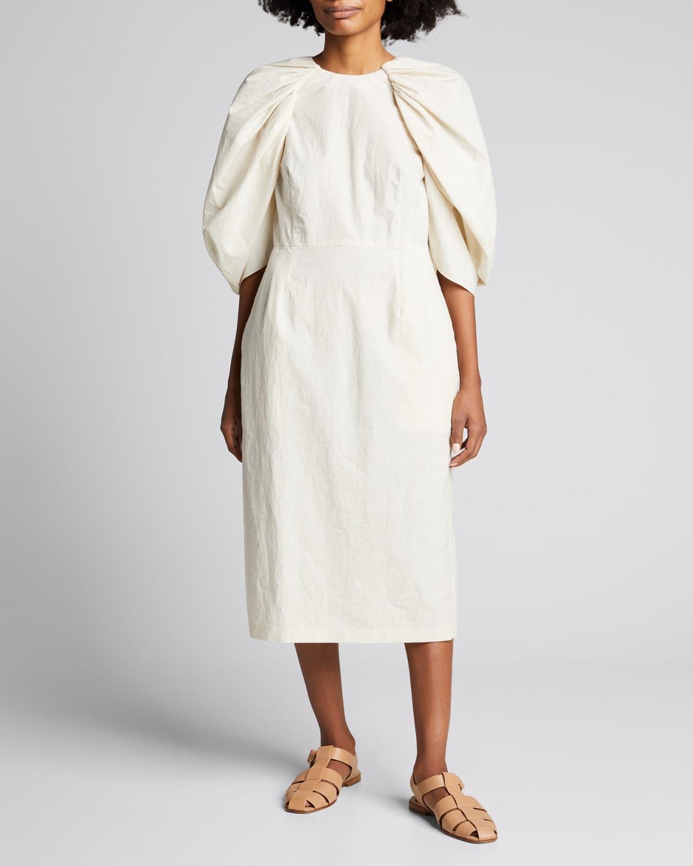 Sasha Puff-Sleeve Midi Dress