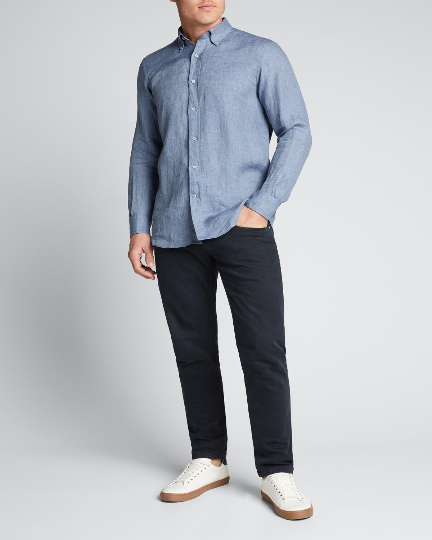 Men's Solid Herringbone Linen Sport Shirt