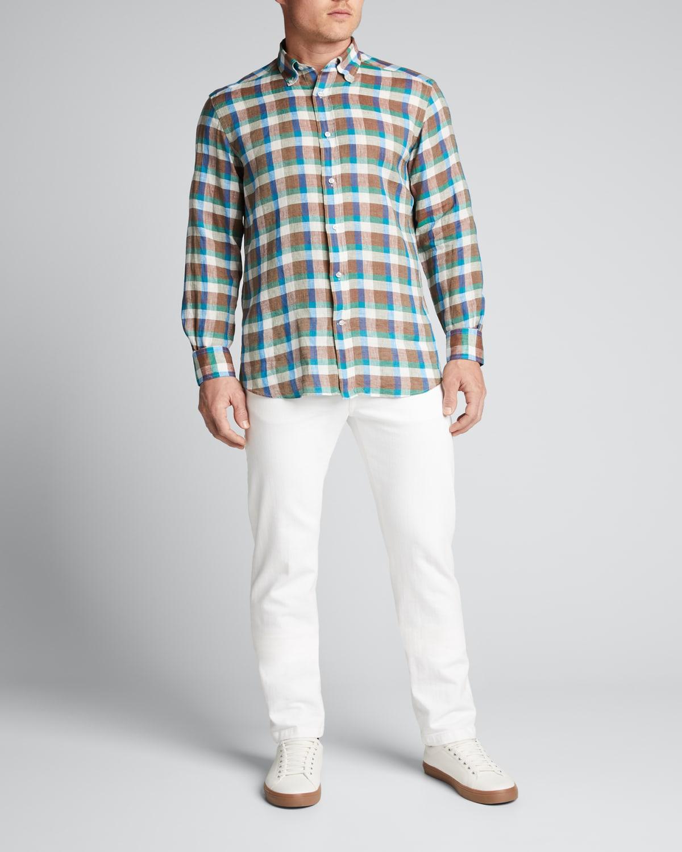 Men's Multi-Check Linen Sport Shirt
