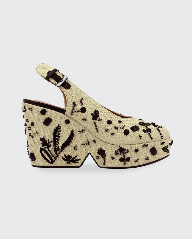 Douce Floral Embroidered Platform Slingback Sandals