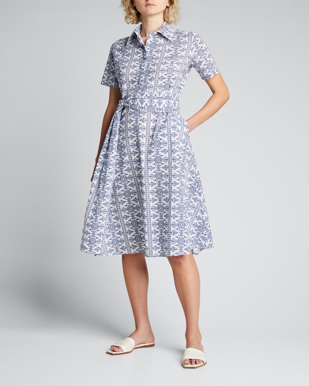 Printed Cotton Belted Midi Shirtdress