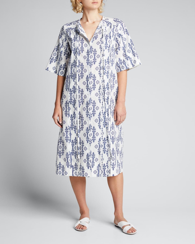 Printed Split-Neck Tunic Midi Dress