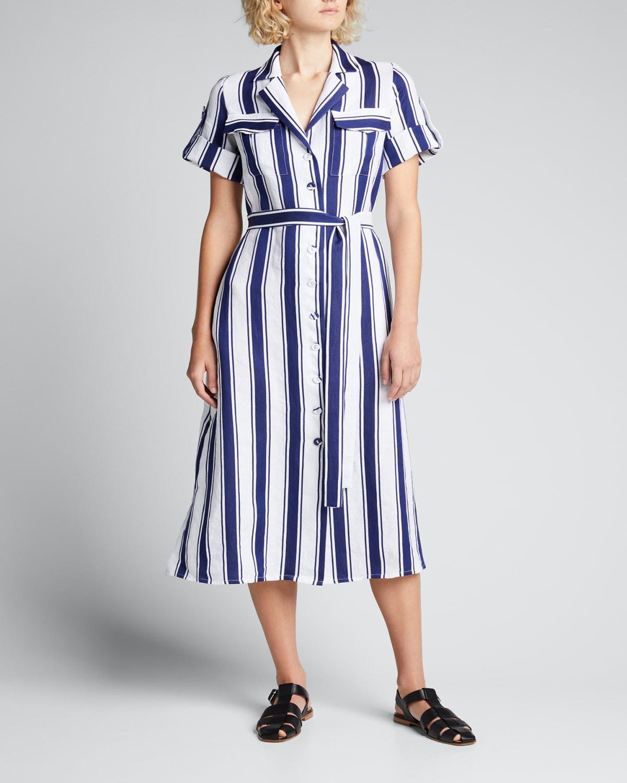 Stripe-Print Button-Front Midi Shirtdress