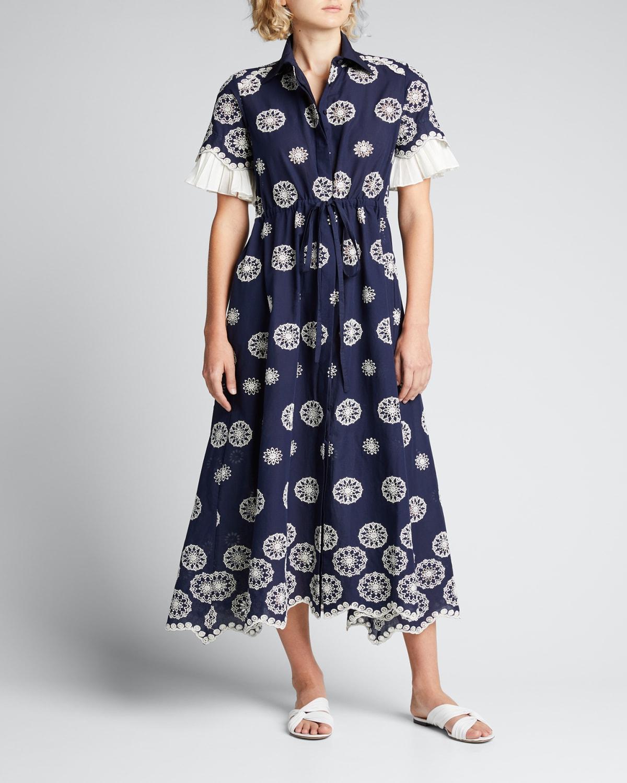 Eyelet-Embroidered Scallop-Hem Shirtdress