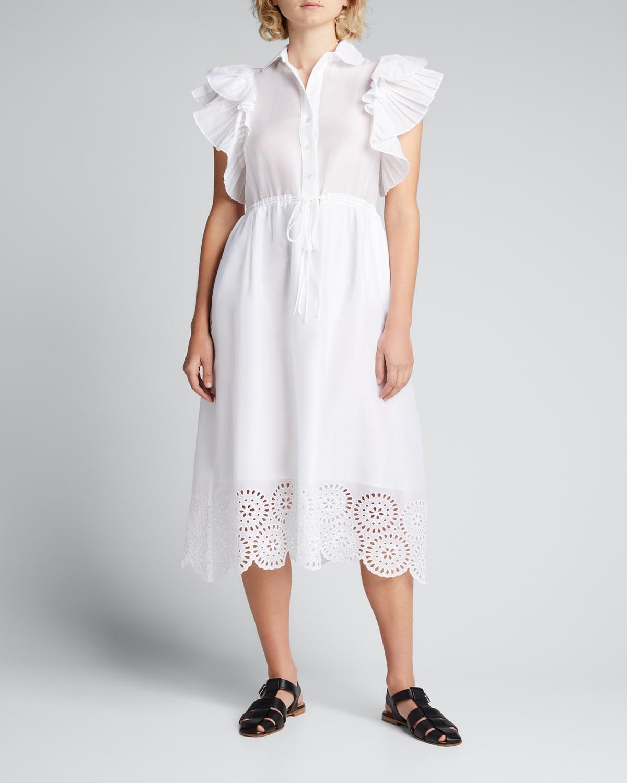 Eyelet-Embroidered Hem Midi Drawstring Dress