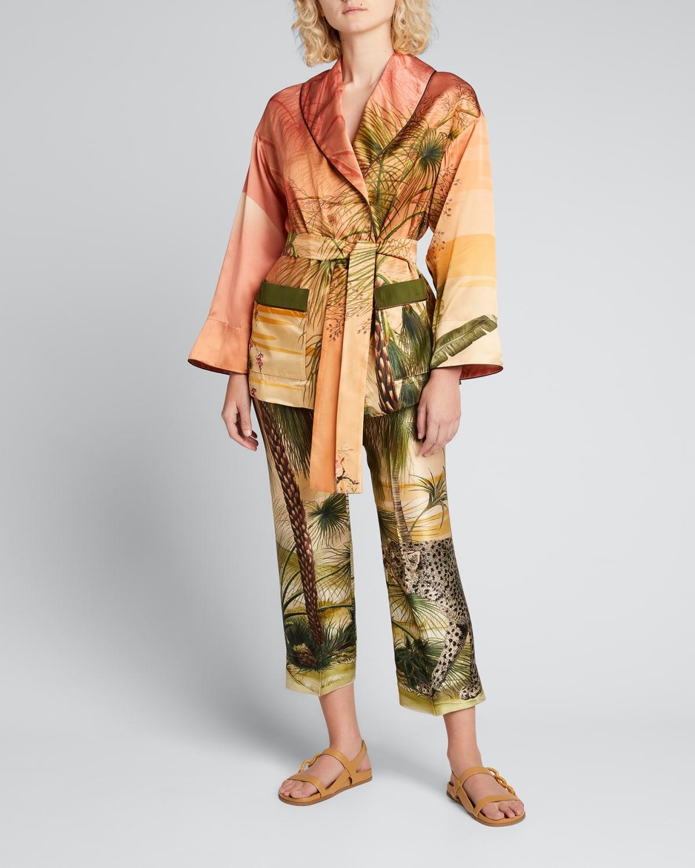 Jungle-Print Belted Robe Jacket