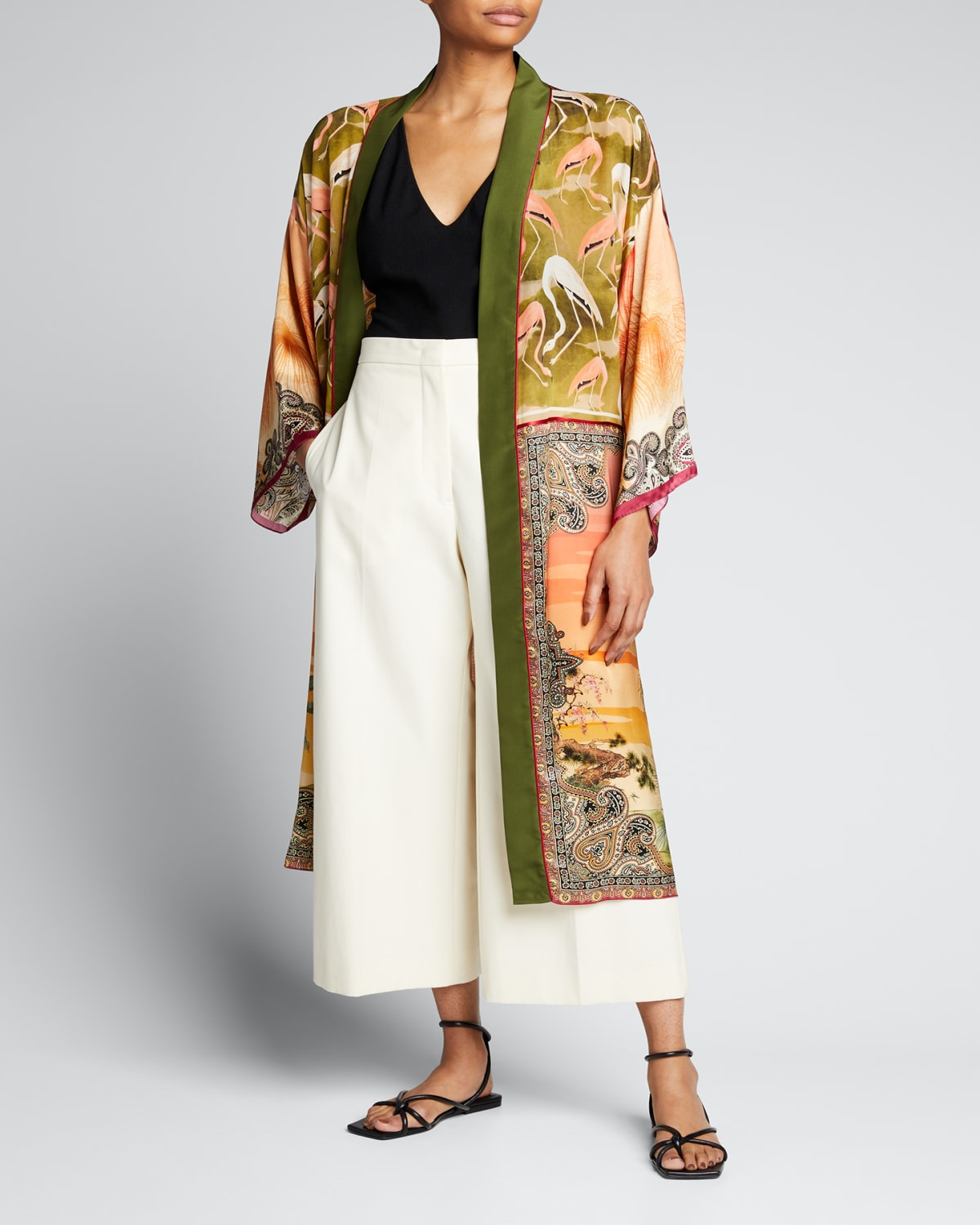 Printed Belted Long Robe