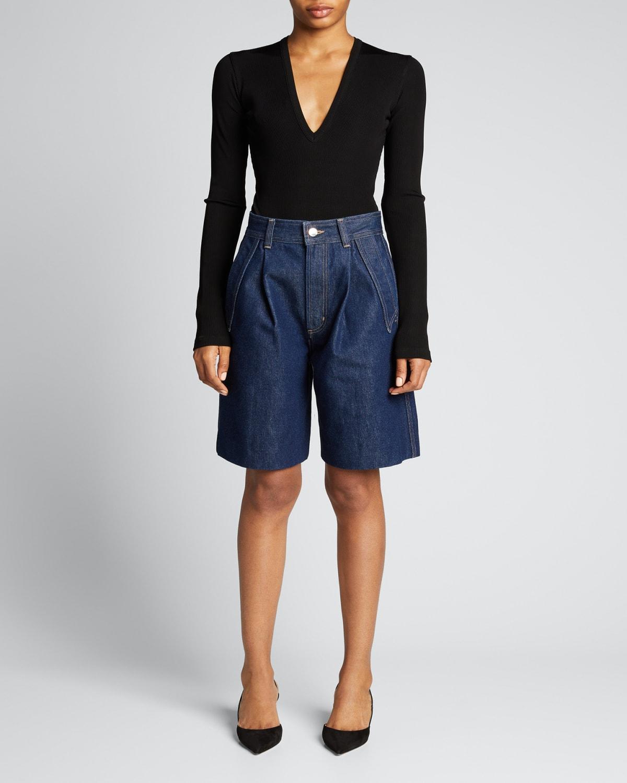 Ribbed V-Neck Long-Sleeve Bodysuit