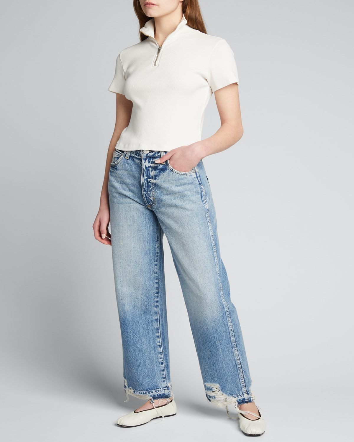 Sophie Cropped Wide-Leg Jeans with Released Hem