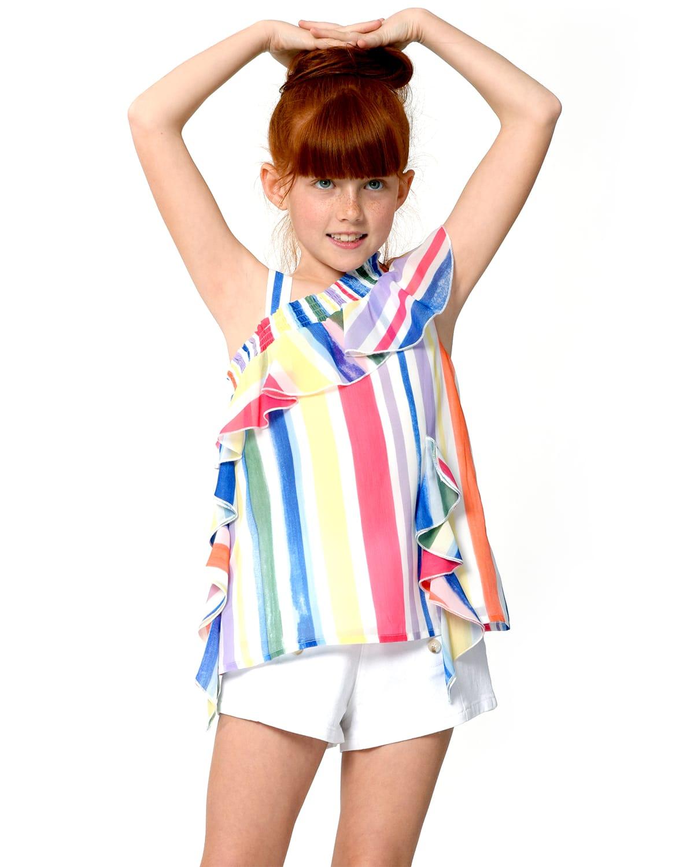 Girl's Striped Ruffle One-Shoulder Chiffon Top