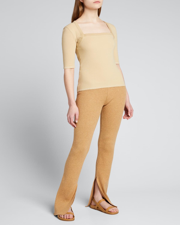 Ribbed Square-Neck 3/4-Sleeve Shirt