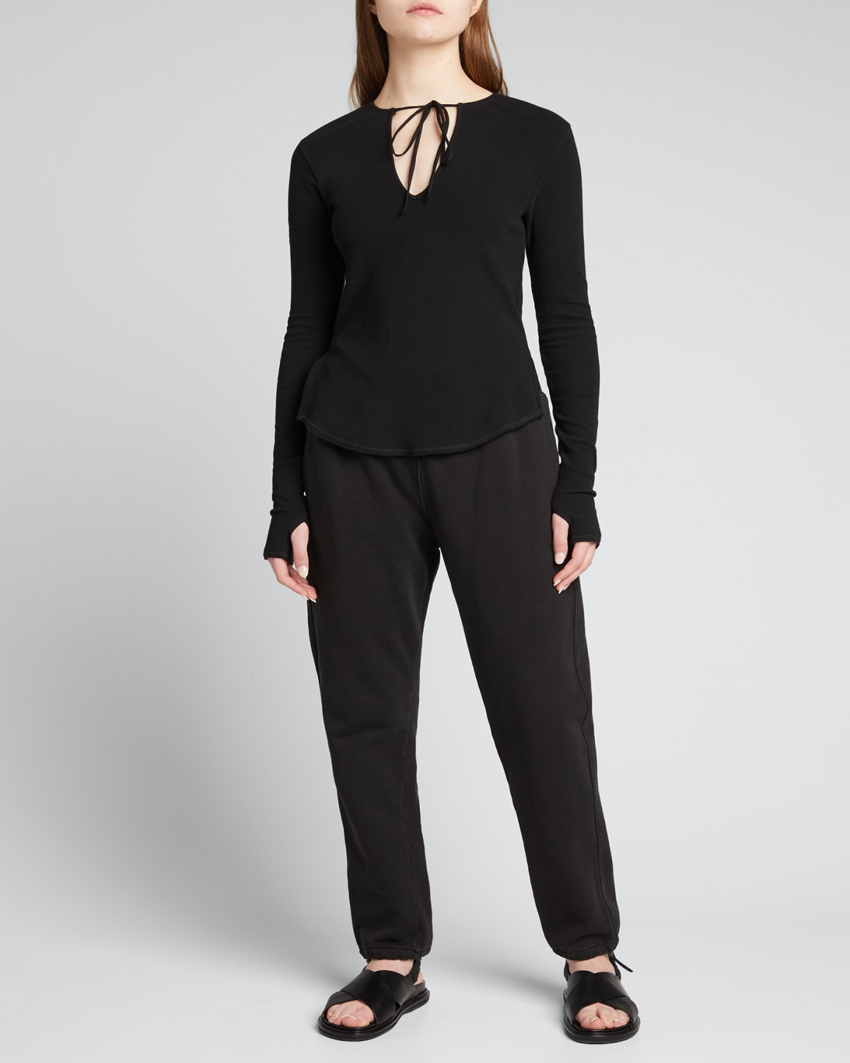 Tie-Front Ribbed Long-Sleeve Shirt