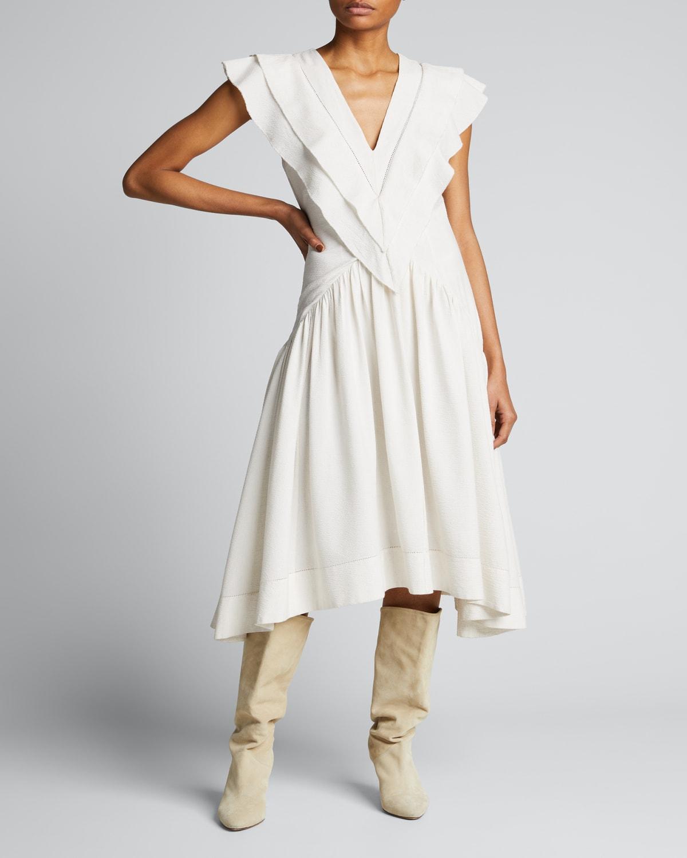 Hillary V-Neck Linen Midi Dress