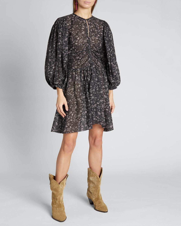 Marili Ruched Blouson-Sleeve Dress