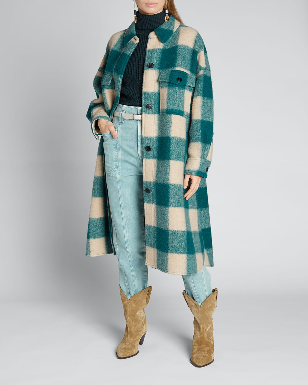 Fontizi Plaid Wool Long Coat