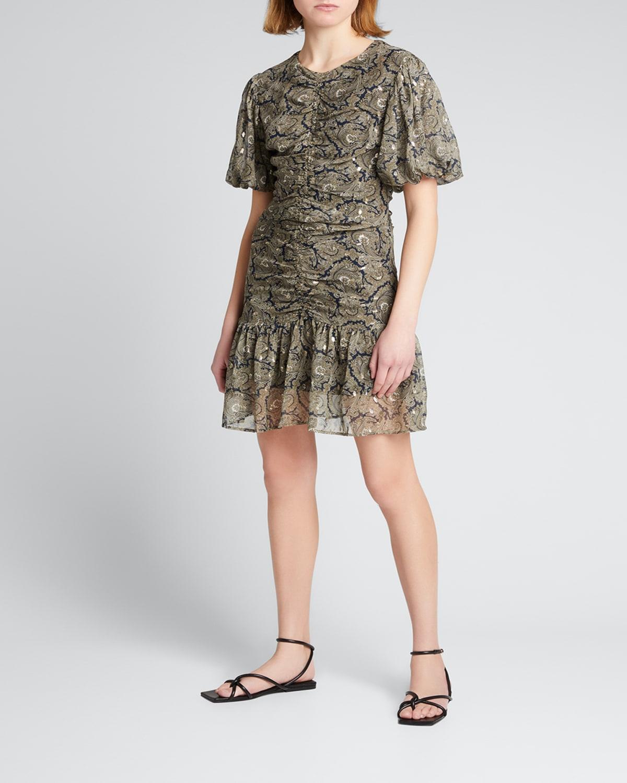 Belle Silk Paisley-Print Puff-Sleeve Dress