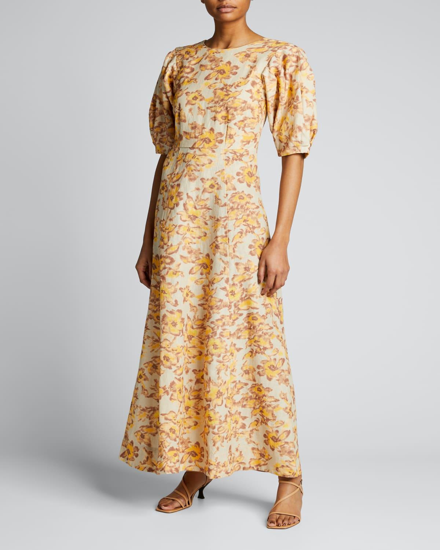 Flora Printed Linen Puff-Sleeve Dress