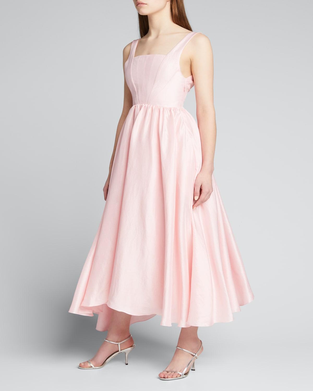 Mira Square-Neck Silk Dress