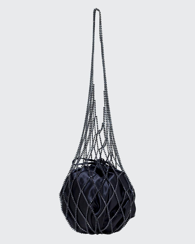 Bellatrix Rhinestone Mesh Caged Bucket Bag