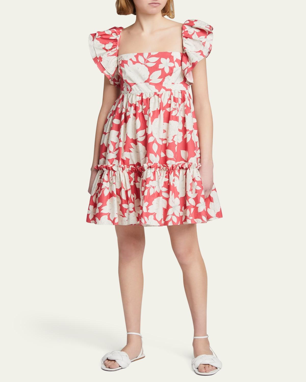 Lexa Square-Neck Ruffle Dress
