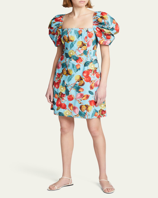 Kelly Fruit-Print Puff-Sleeve Dress